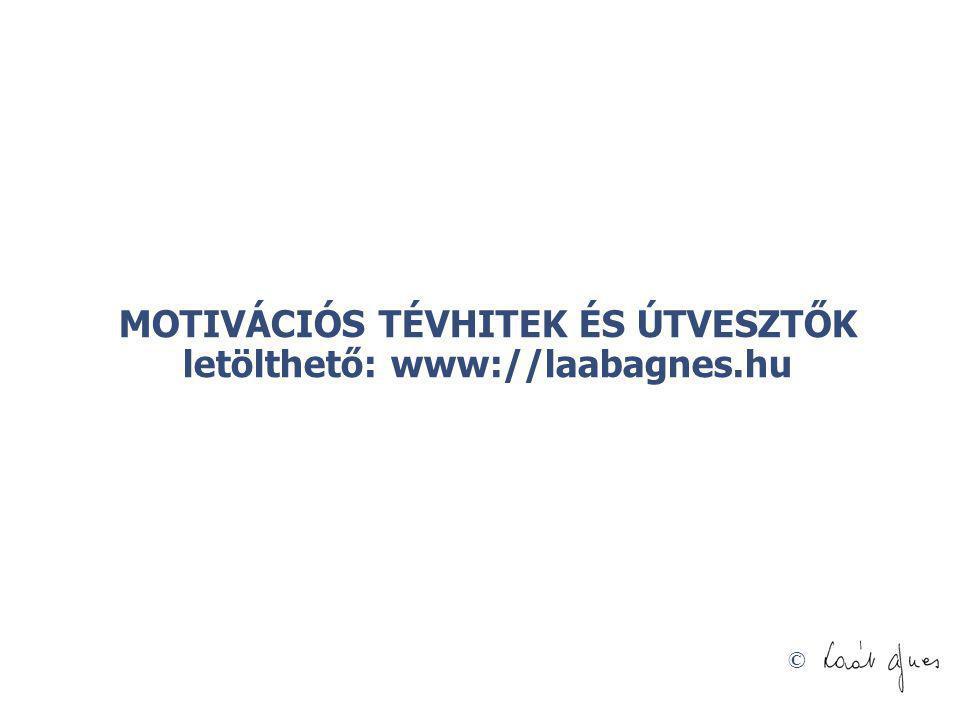 MOTIVÁCIÓS TÉVHITEK ÉS ÚTVESZTŐK letölthető: www://laabagnes.hu