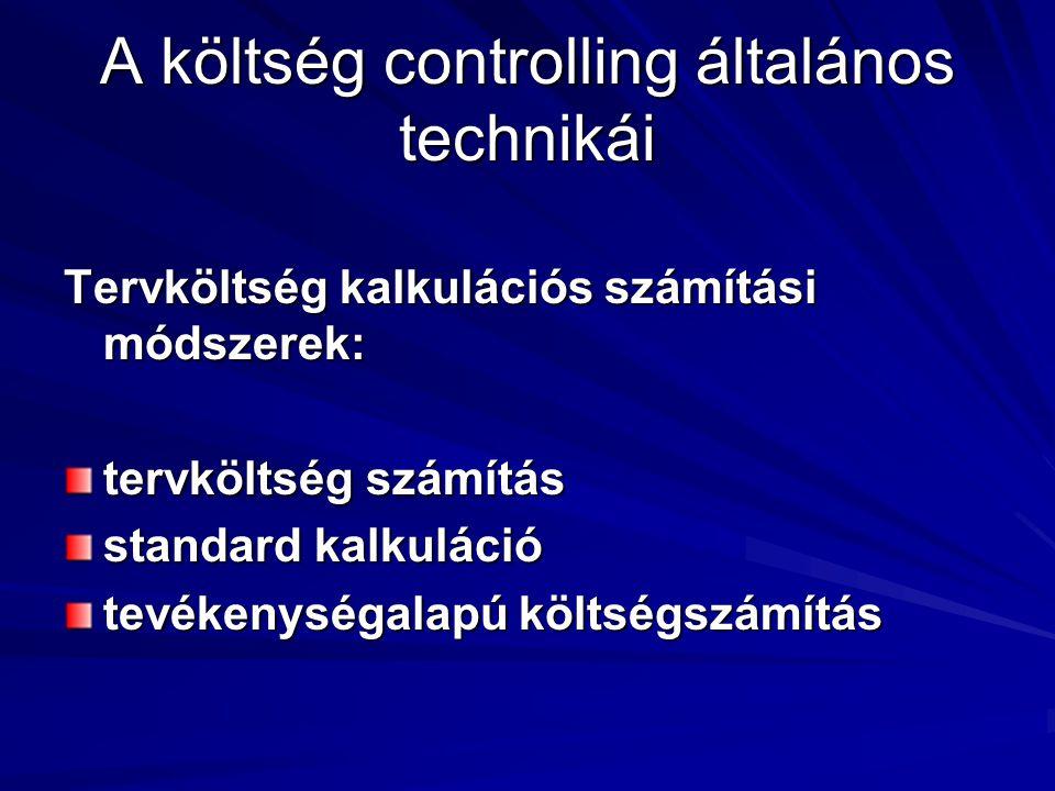 A költség controlling általános technikái