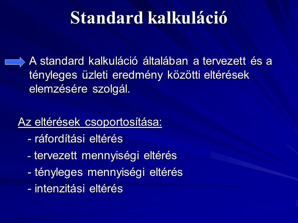 Standard kalkuláció A standard kalkuláció általában a tervezett és a tényleges üzleti eredmény közötti eltérések elemzésére szolgál.