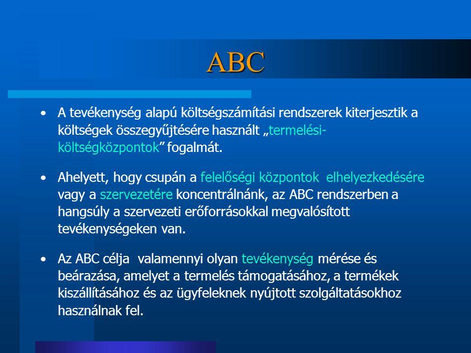 """ABC A tevékenység alapú költségszámítási rendszerek kiterjesztik a költségek összegyűjtésére használt """"termelési- költségközpontok fogalmát."""