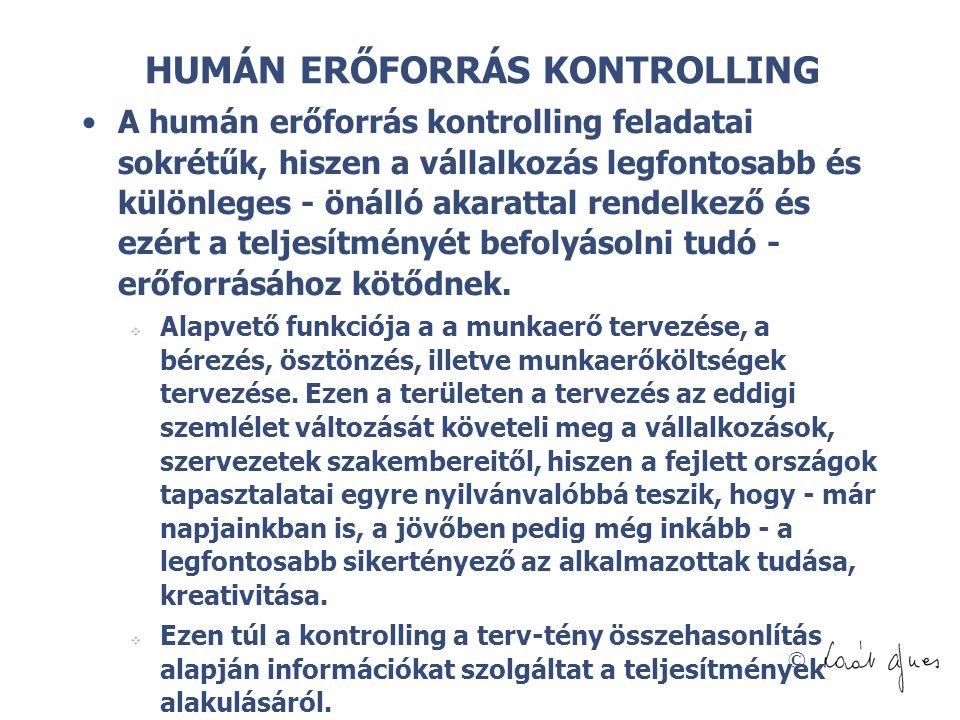 HUMÁN ERŐFORRÁS KONTROLLING