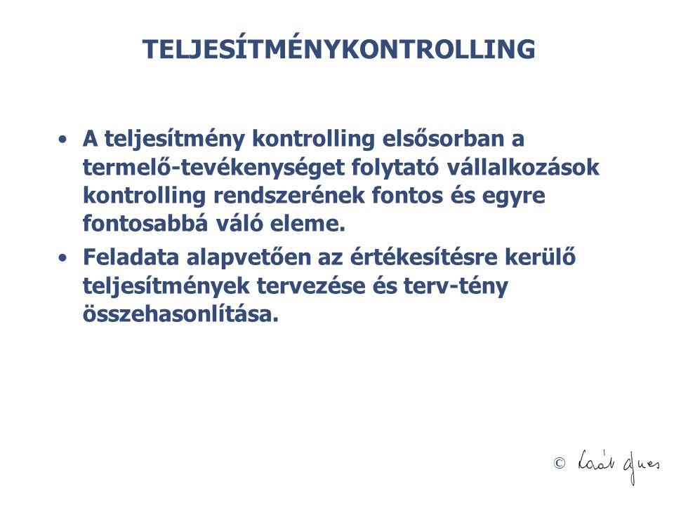 TELJESÍTMÉNYKONTROLLING