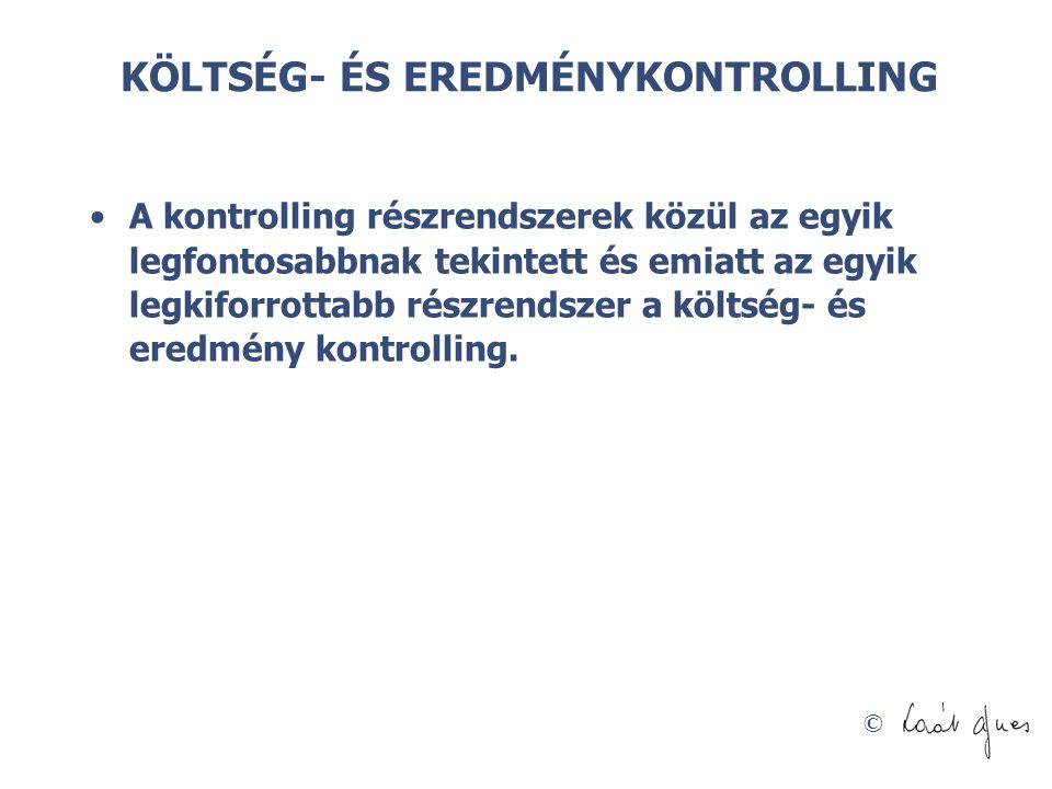 KÖLTSÉG- ÉS EREDMÉNYKONTROLLING