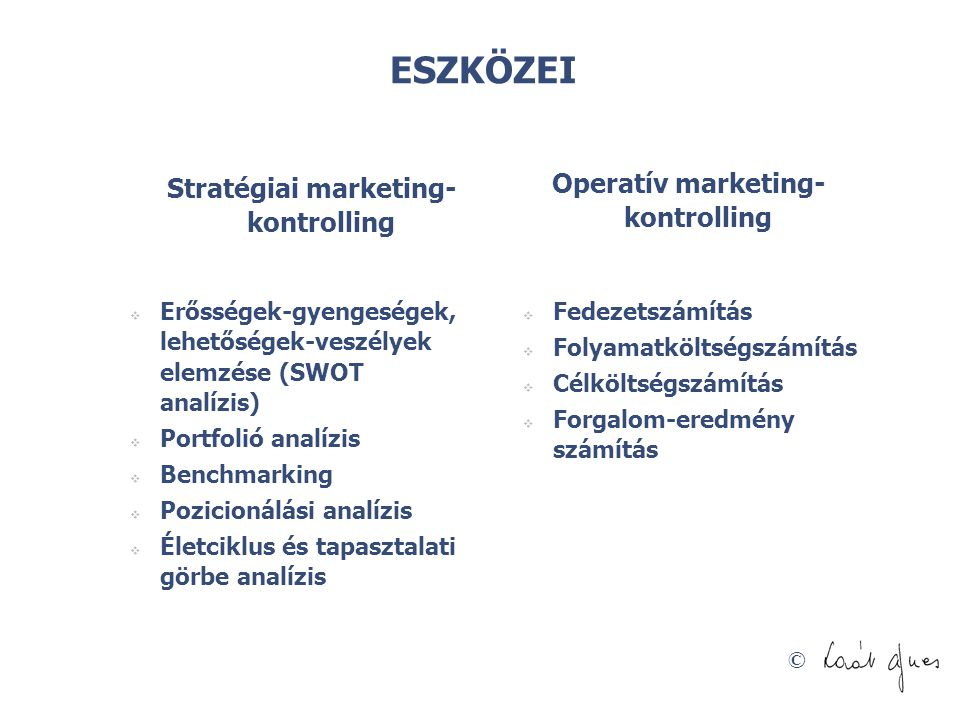 Operatív marketing-kontrolling Stratégiai marketing-kontrolling