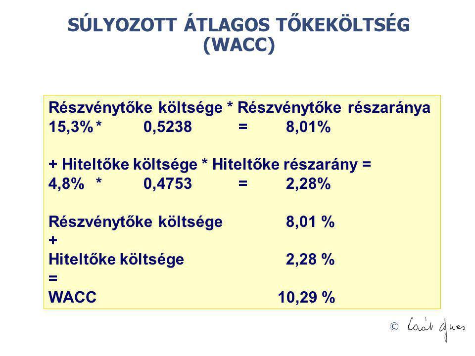 SÚLYOZOTT ÁTLAGOS TŐKEKÖLTSÉG (WACC)