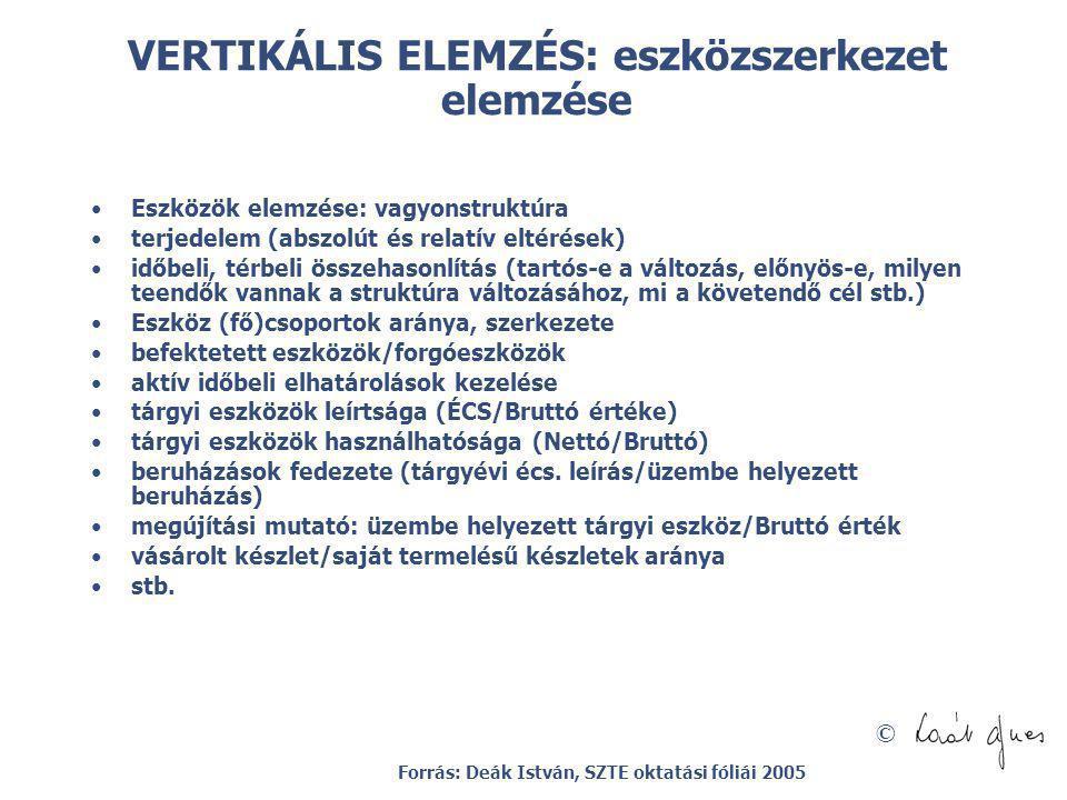 VERTIKÁLIS ELEMZÉS: eszközszerkezet elemzése