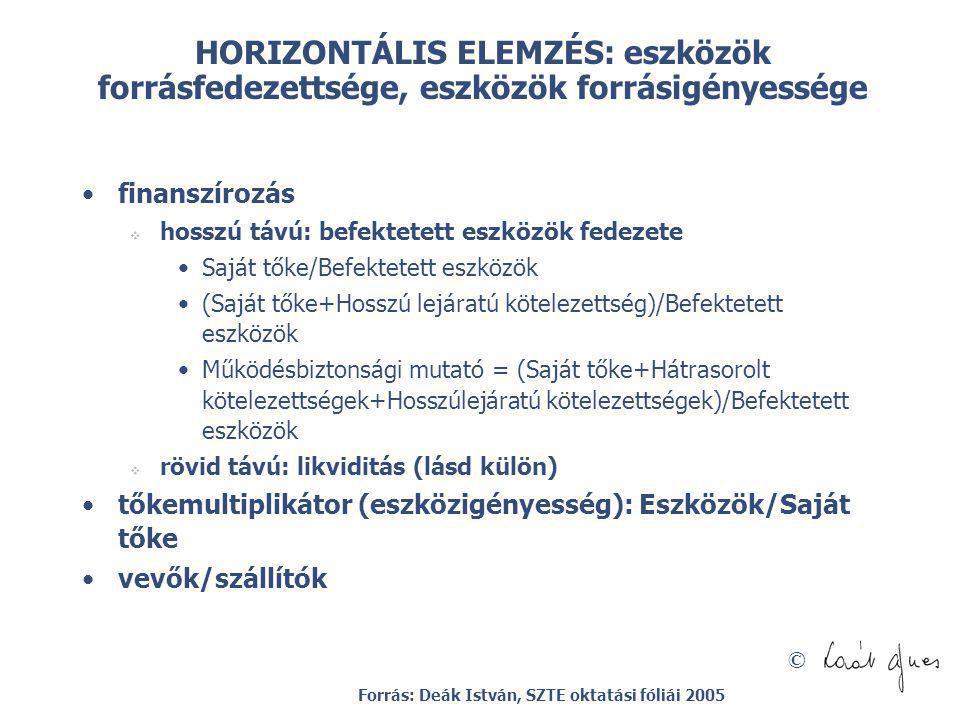 HORIZONTÁLIS ELEMZÉS: eszközök forrásfedezettsége, eszközök forrásigényessége