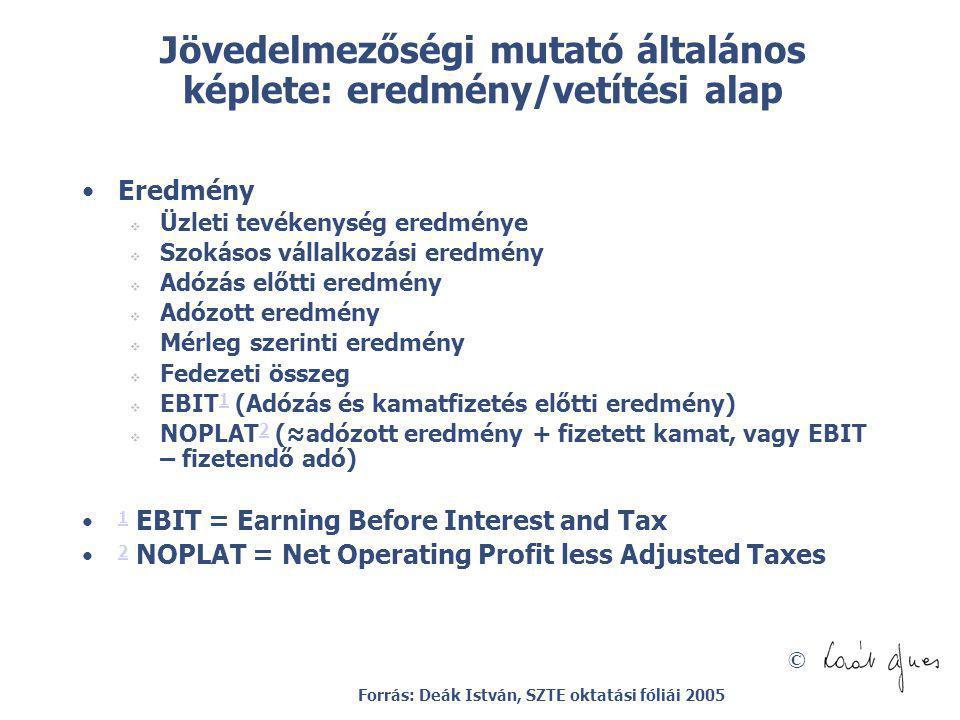 Jövedelmezőségi mutató általános képlete: eredmény/vetítési alap