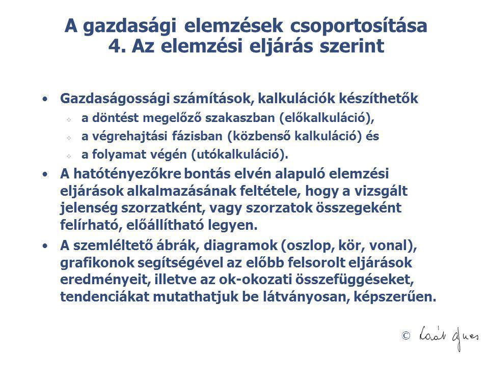 A gazdasági elemzések csoportosítása 4. Az elemzési eljárás szerint