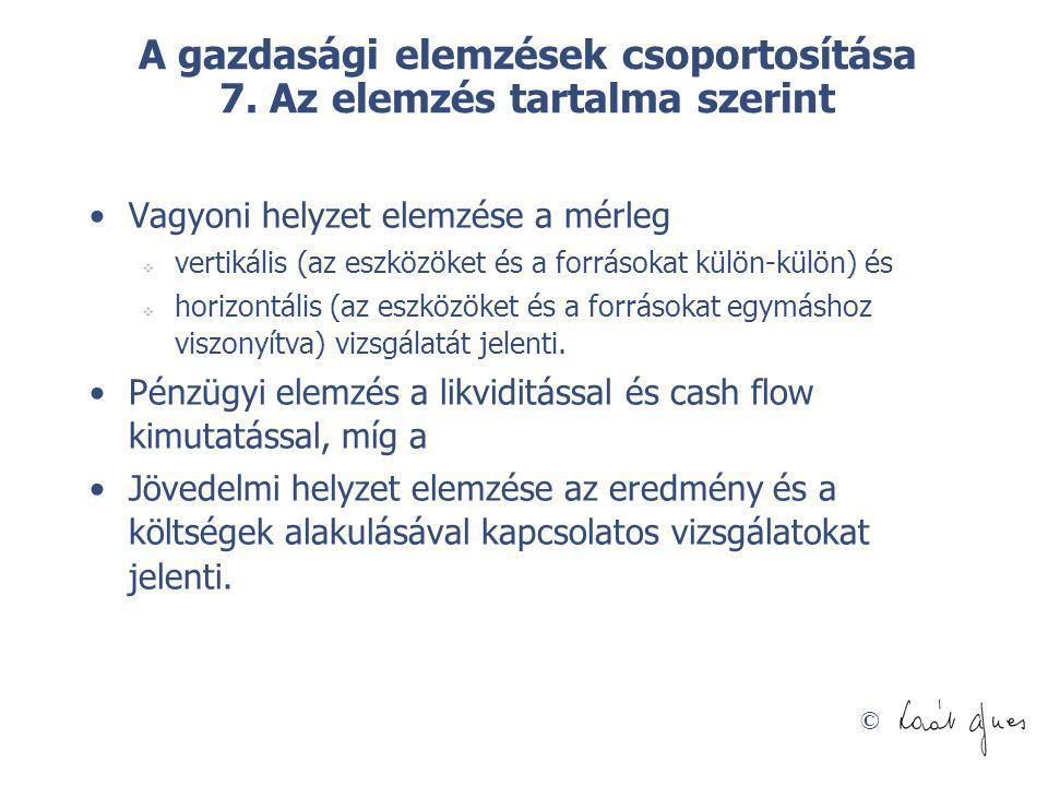 A gazdasági elemzések csoportosítása 7. Az elemzés tartalma szerint