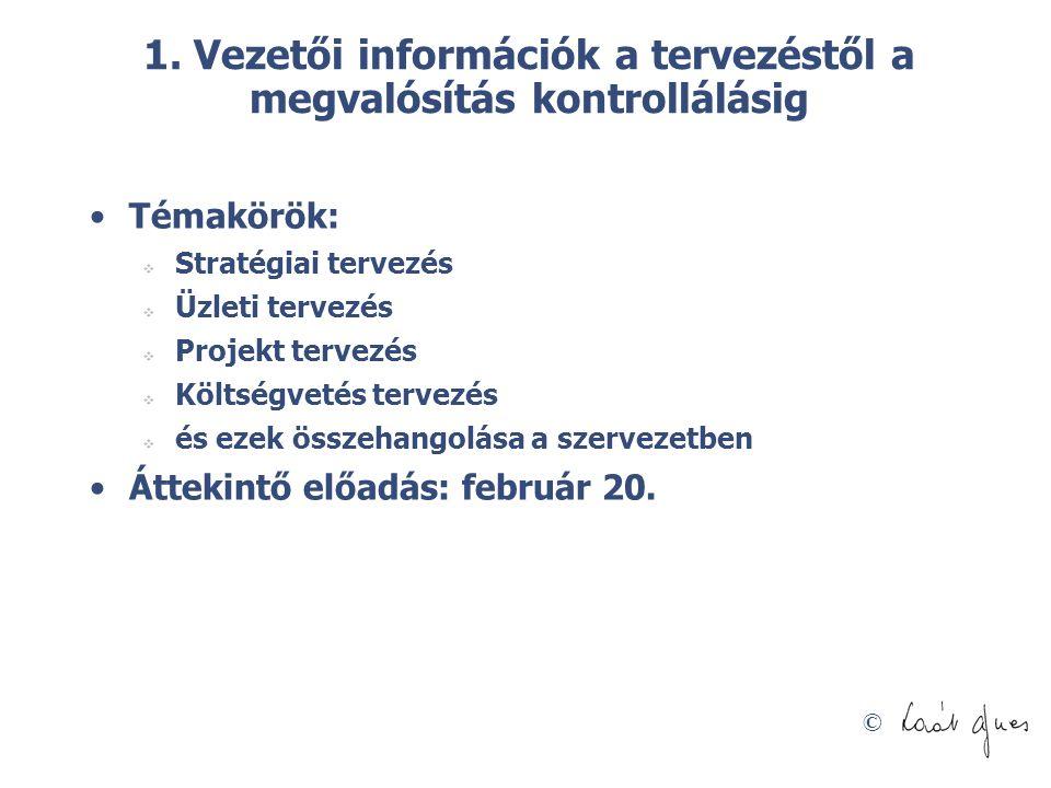 1. Vezetői információk a tervezéstől a megvalósítás kontrollálásig