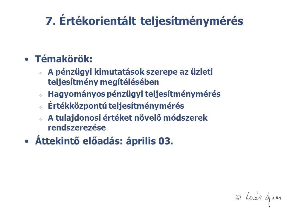 7. Értékorientált teljesítménymérés