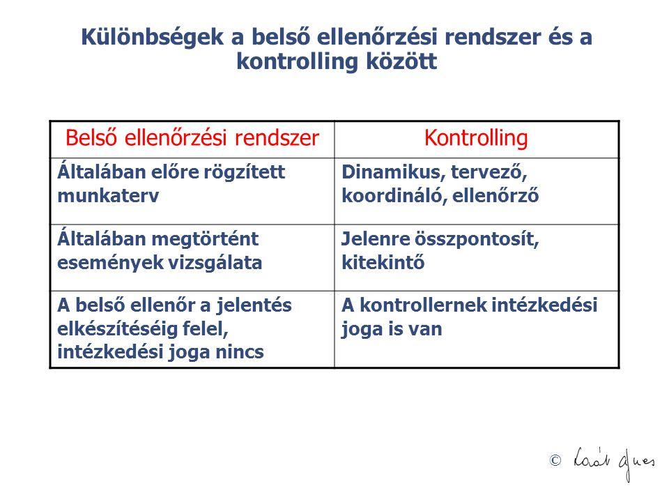 Különbségek a belső ellenőrzési rendszer és a kontrolling között
