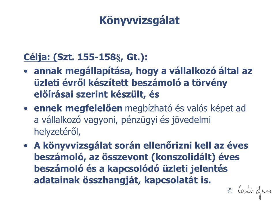 Könyvvizsgálat Célja: (Szt. 155-158§, Gt.):
