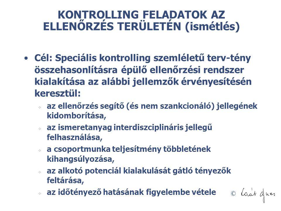 KONTROLLING FELADATOK AZ ELLENŐRZÉS TERÜLETÉN (ismétlés)