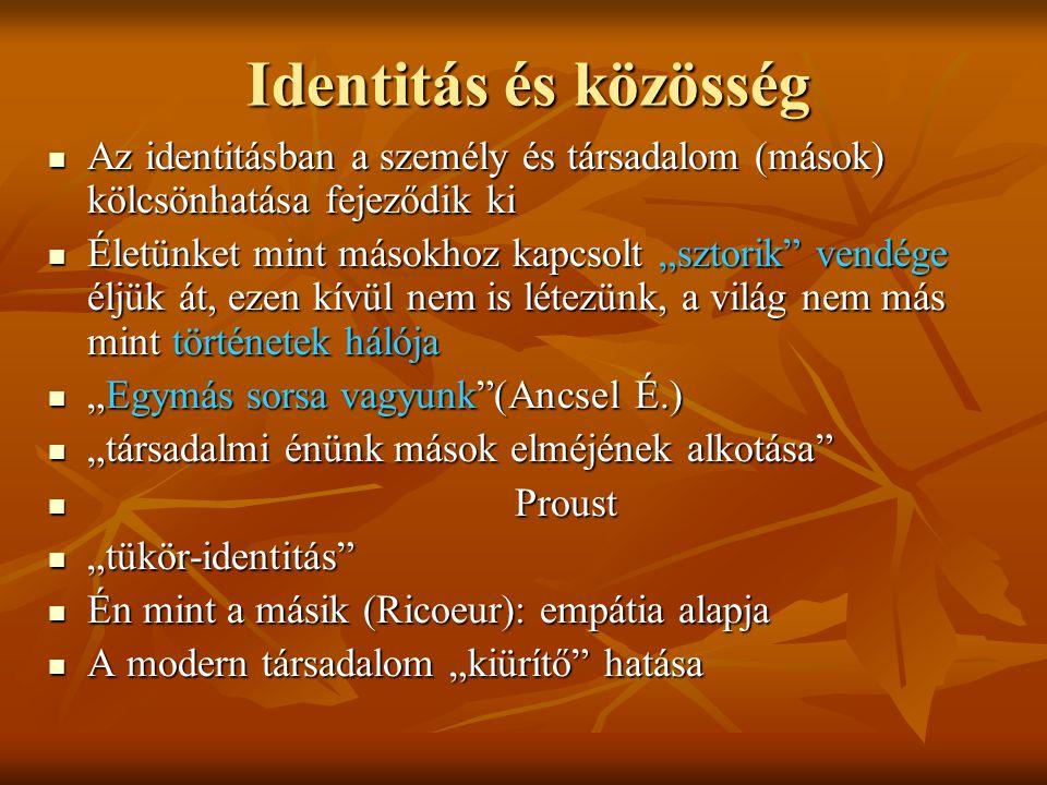 Identitás és közösség Az identitásban a személy és társadalom (mások) kölcsönhatása fejeződik ki.
