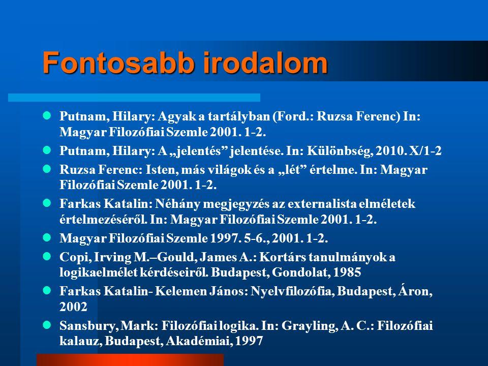 Fontosabb irodalom Putnam, Hilary: Agyak a tartályban (Ford.: Ruzsa Ferenc) In: Magyar Filozófiai Szemle 2001. 1-2.