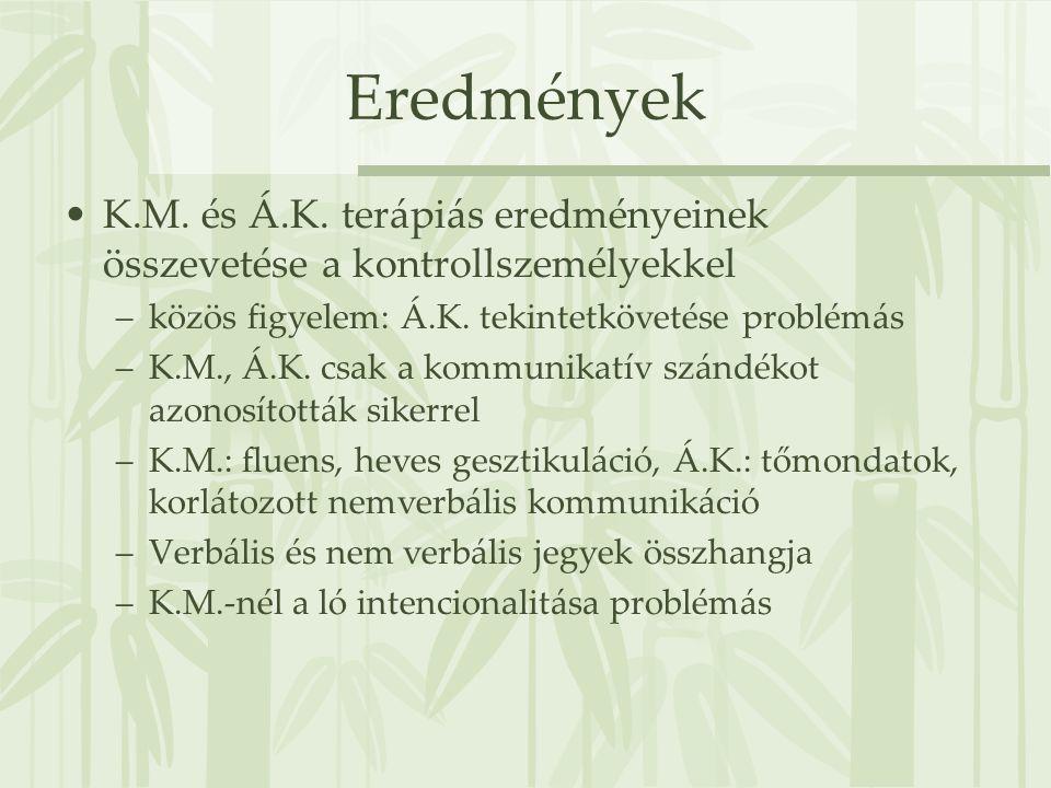 Eredmények K.M. és Á.K. terápiás eredményeinek összevetése a kontrollszemélyekkel. közös figyelem: Á.K. tekintetkövetése problémás.