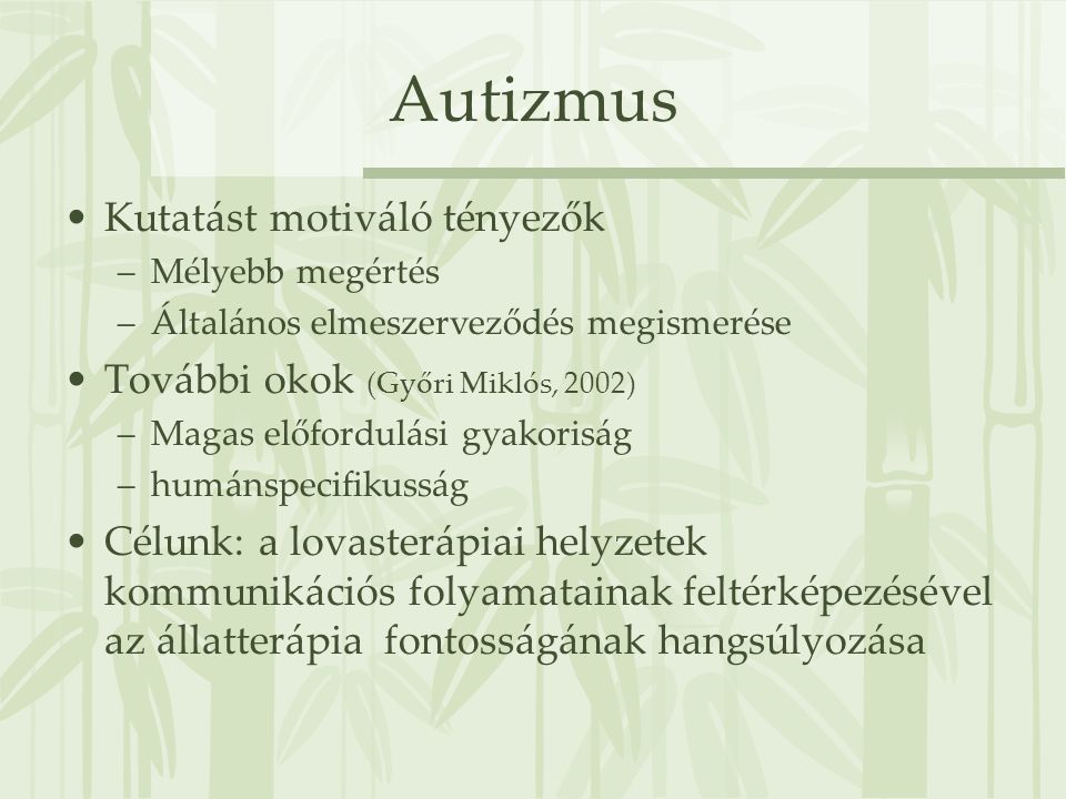 Autizmus Kutatást motiváló tényezők További okok (Győri Miklós, 2002)