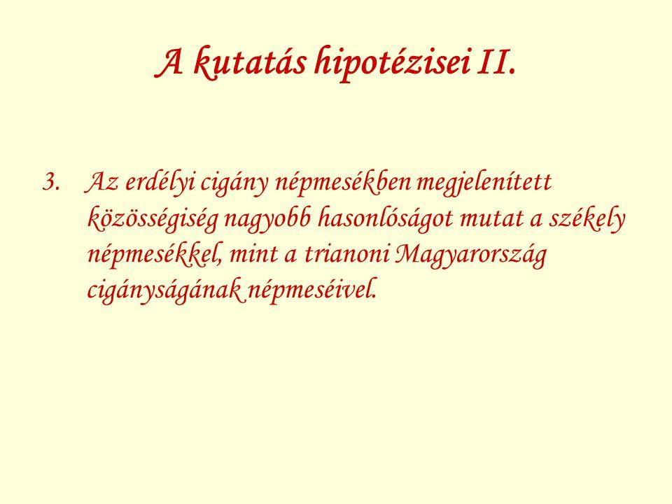 A kutatás hipotézisei II.