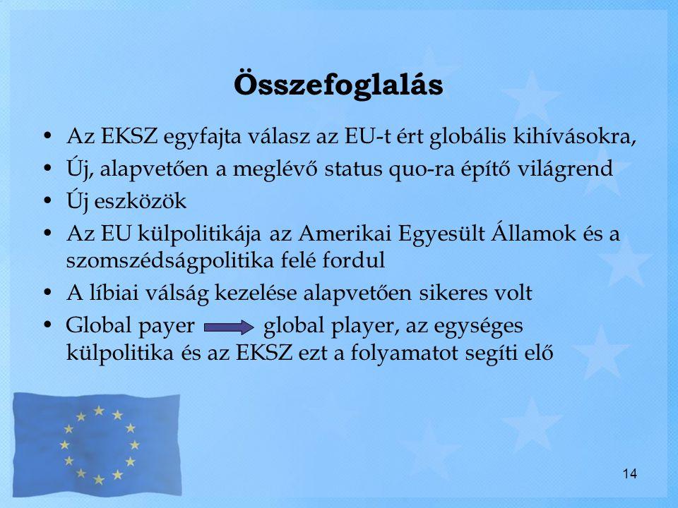 Összefoglalás Az EKSZ egyfajta válasz az EU-t ért globális kihívásokra, Új, alapvetően a meglévő status quo-ra építő világrend.