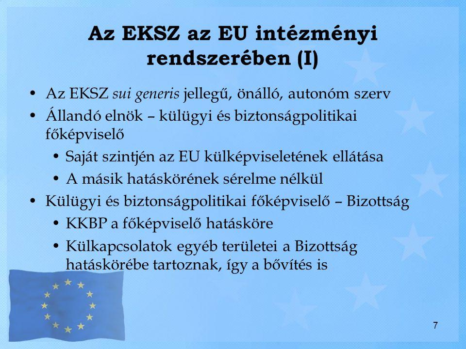 Az EKSZ az EU intézményi rendszerében (I)