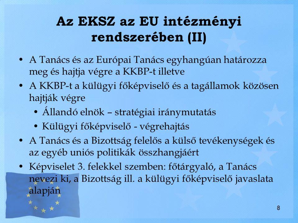 Az EKSZ az EU intézményi rendszerében (II)