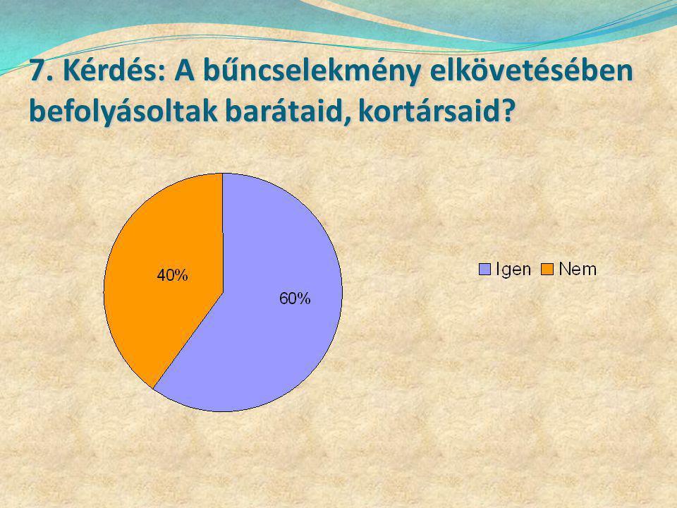 7. Kérdés: A bűncselekmény elkövetésében befolyásoltak barátaid, kortársaid