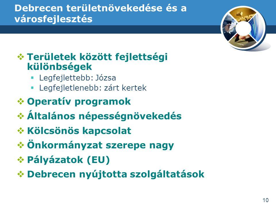 Debrecen területnövekedése és a városfejlesztés