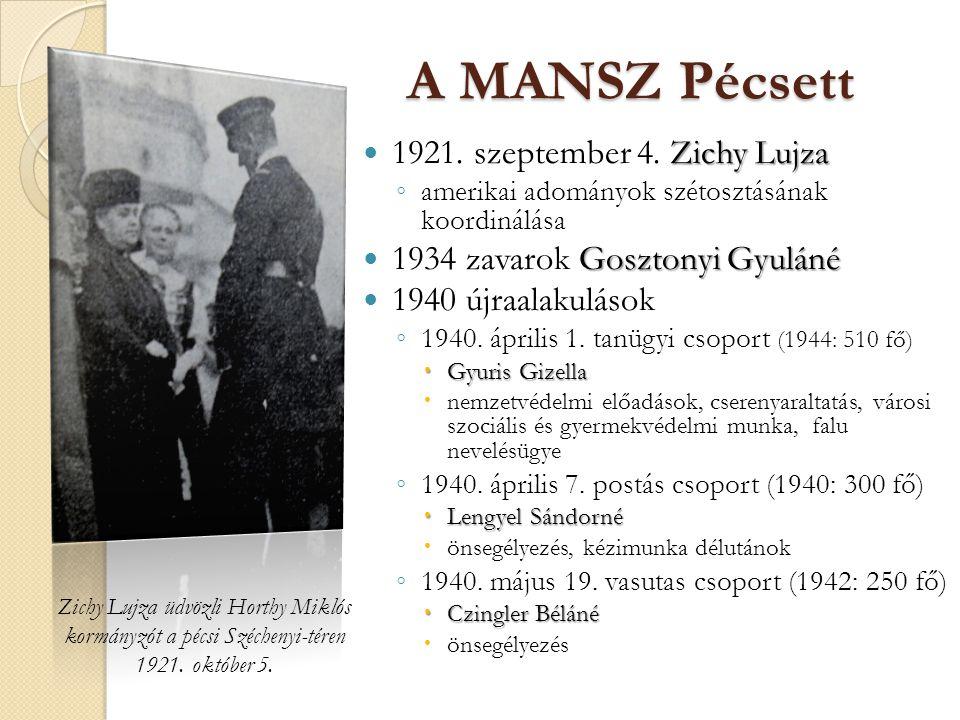 Zichy Lujza üdvözli Horthy Miklós kormányzót a pécsi Széchenyi-téren
