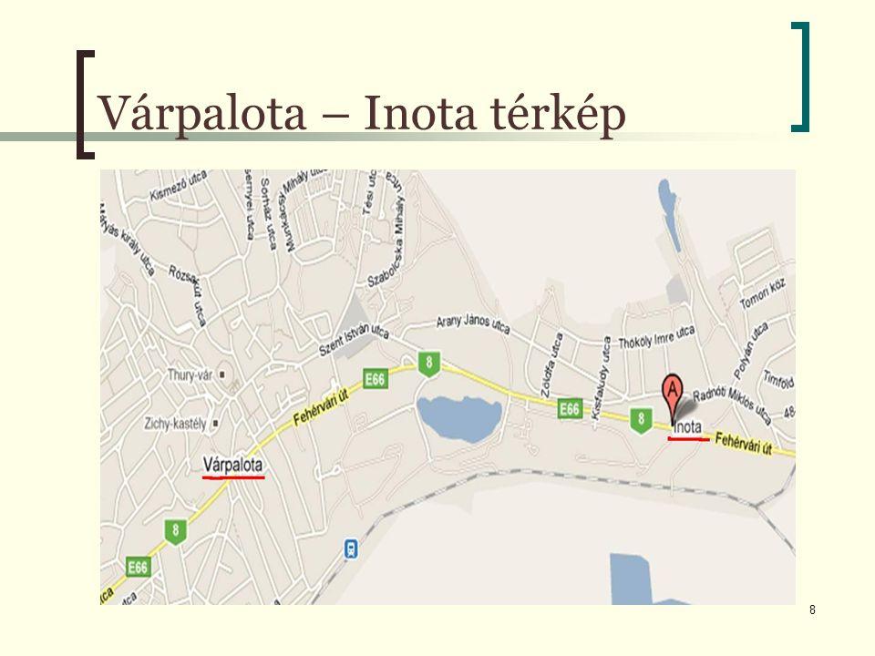 Várpalota – Inota térkép