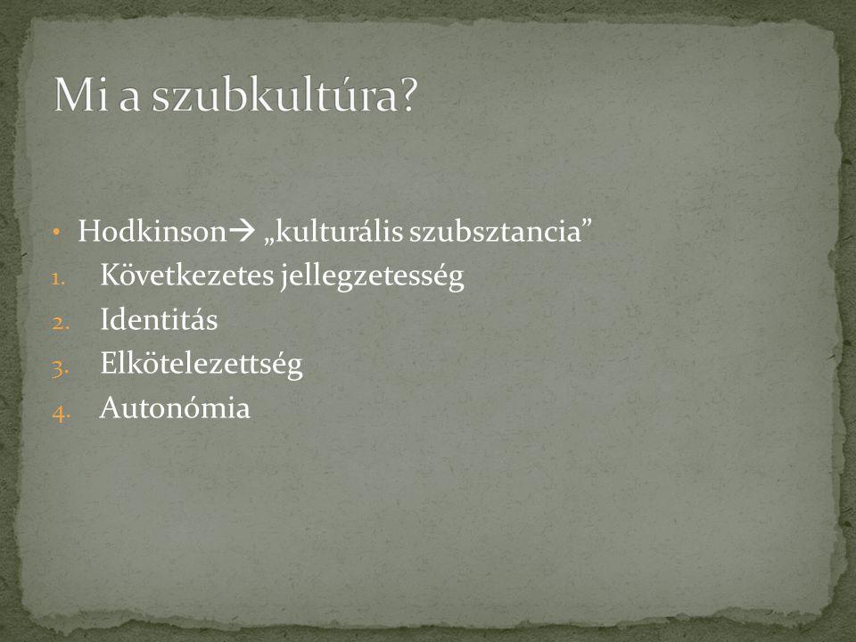 """Mi a szubkultúra Hodkinson """"kulturális szubsztancia"""