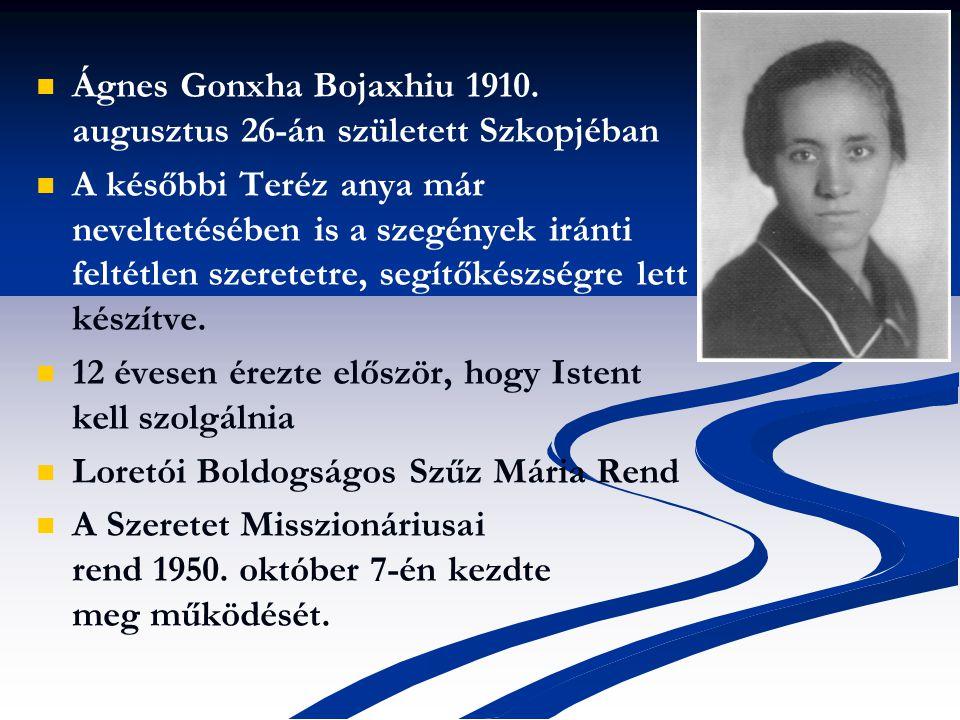 Ágnes Gonxha Bojaxhiu 1910. augusztus 26-án született Szkopjéban