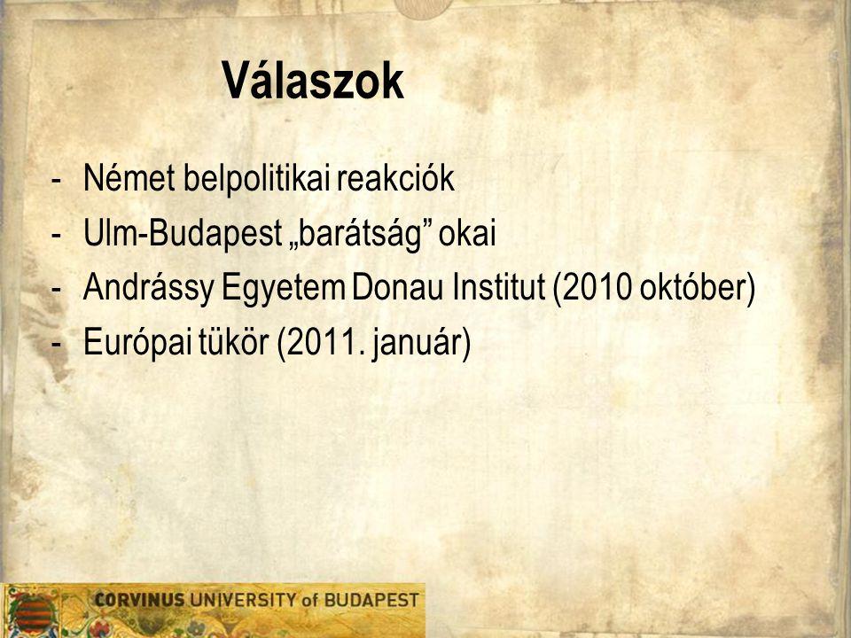 """Válaszok Német belpolitikai reakciók Ulm-Budapest """"barátság okai"""