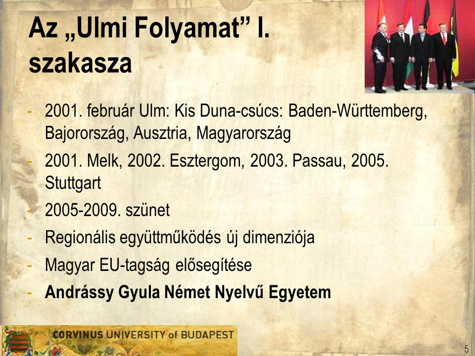 """Az """"Ulmi Folyamat I. szakasza"""