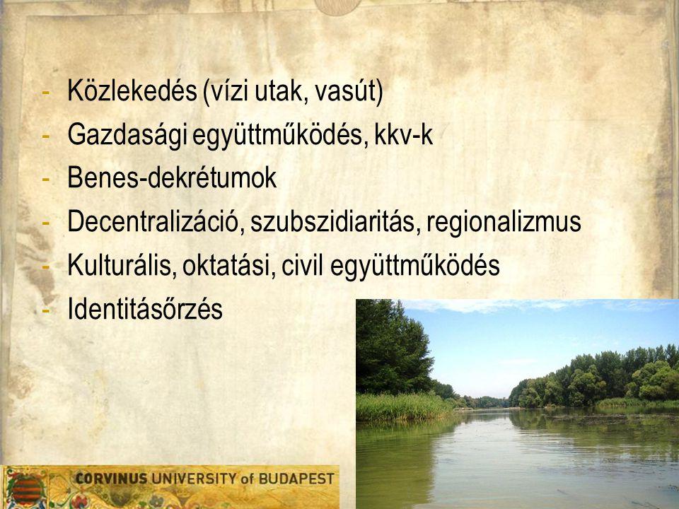 Közlekedés (vízi utak, vasút) Gazdasági együttműködés, kkv-k