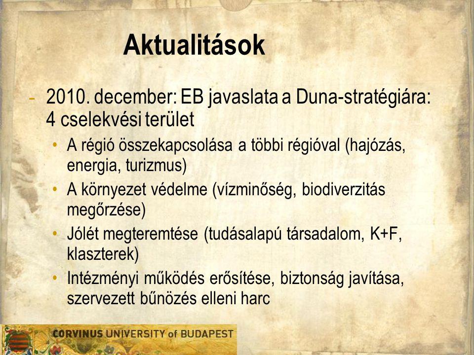 Aktualitások 2010. december: EB javaslata a Duna-stratégiára: 4 cselekvési terület.