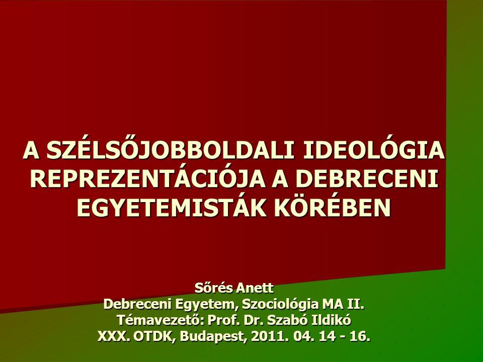 A SZÉLSŐJOBBOLDALI IDEOLÓGIA REPREZENTÁCIÓJA A DEBRECENI EGYETEMISTÁK KÖRÉBEN Sőrés Anett Debreceni Egyetem, Szociológia MA II.