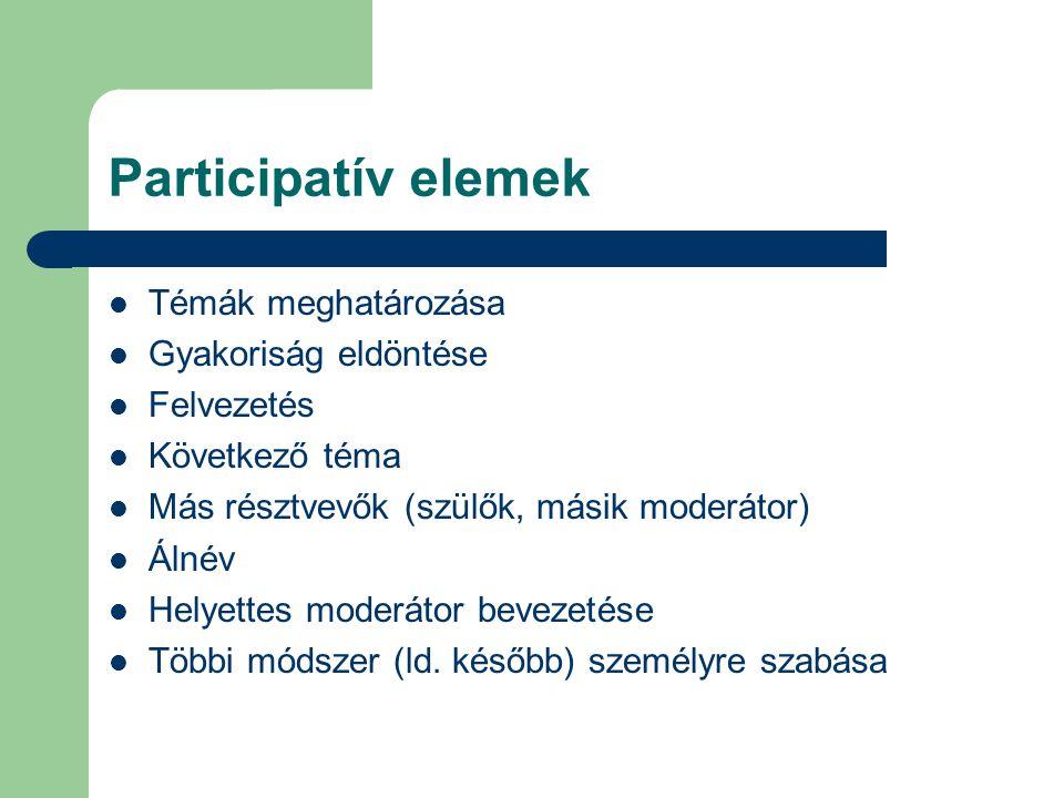 Participatív elemek Témák meghatározása Gyakoriság eldöntése