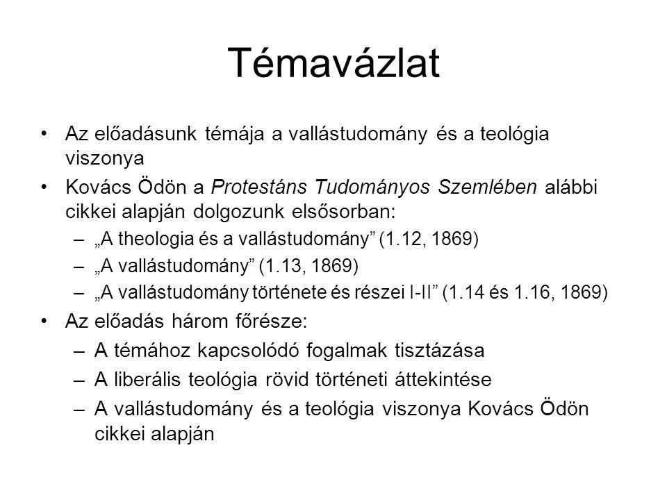 Témavázlat Az előadásunk témája a vallástudomány és a teológia viszonya.