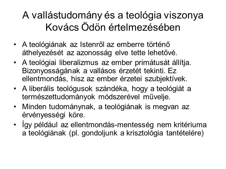 A vallástudomány és a teológia viszonya Kovács Ödön értelmezésében