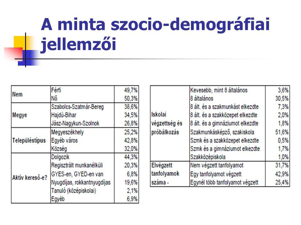 A minta szocio-demográfiai jellemzői