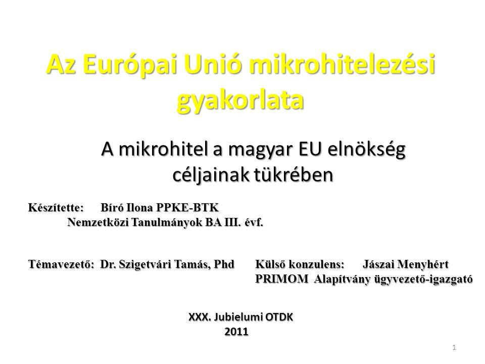 Az Európai Unió mikrohitelezési gyakorlata