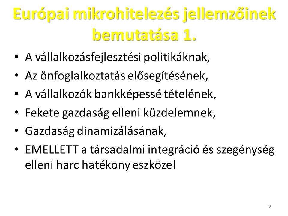 Európai mikrohitelezés jellemzőinek bemutatása 1.