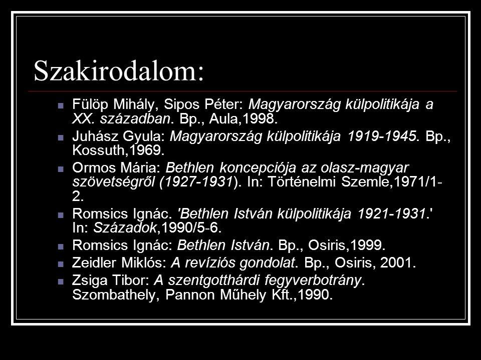 Szakirodalom: Fülöp Mihály, Sipos Péter: Magyarország külpolitikája a XX. században. Bp., Aula,1998.