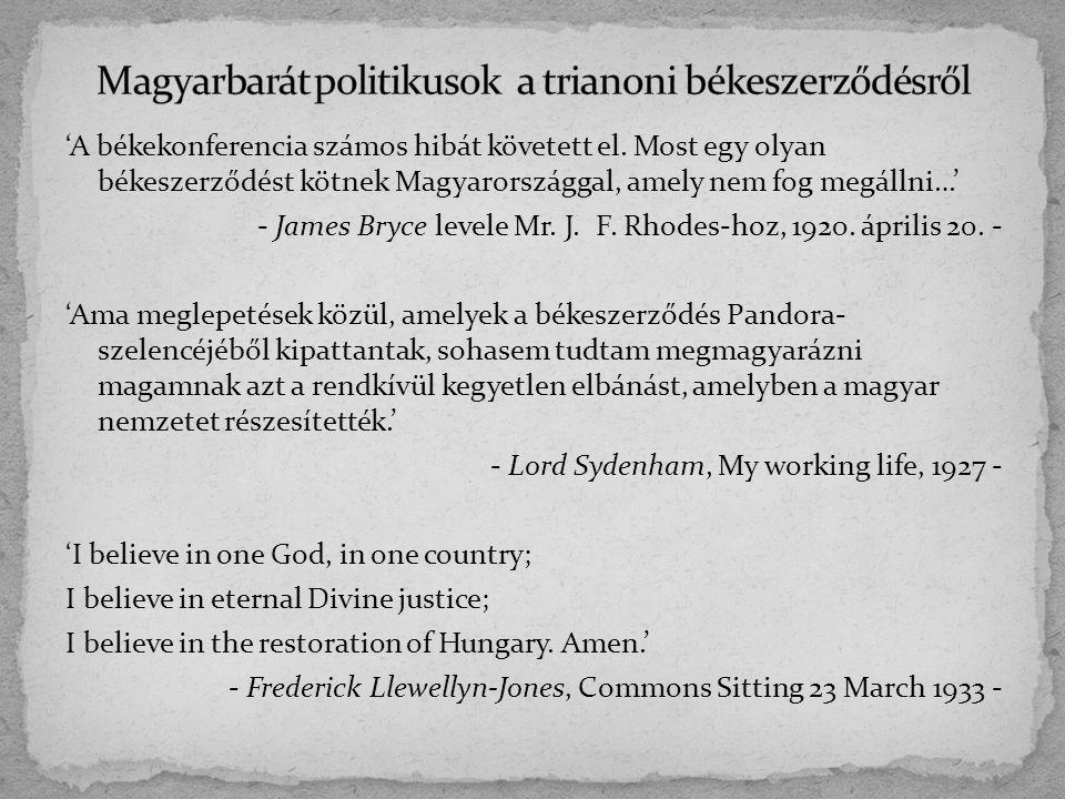 Magyarbarát politikusok a trianoni békeszerződésről