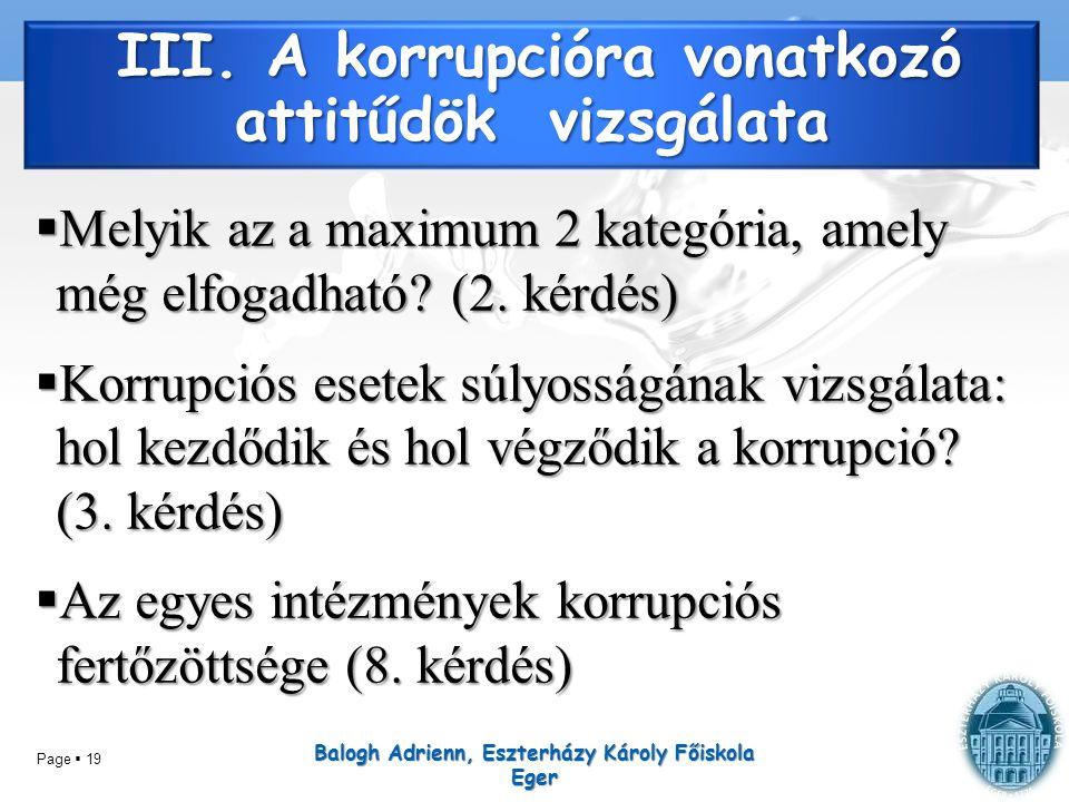 III. A korrupcióra vonatkozó attitűdök vizsgálata