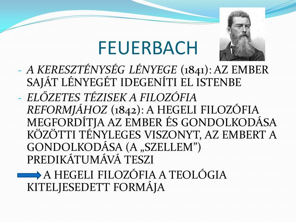 FEUERBACH A KERESZTÉNYSÉG LÉNYEGE (1841): AZ EMBER SAJÁT LÉNYEGÉT IDEGENÍTI EL ISTENBE.