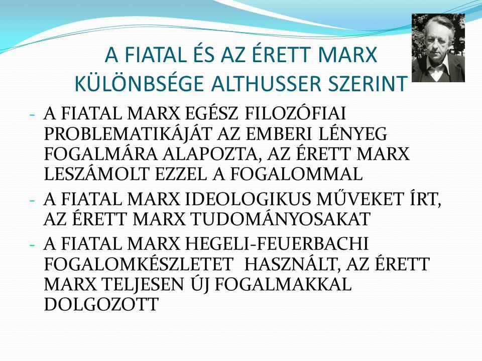 A FIATAL ÉS AZ ÉRETT MARX KÜLÖNBSÉGE ALTHUSSER SZERINT