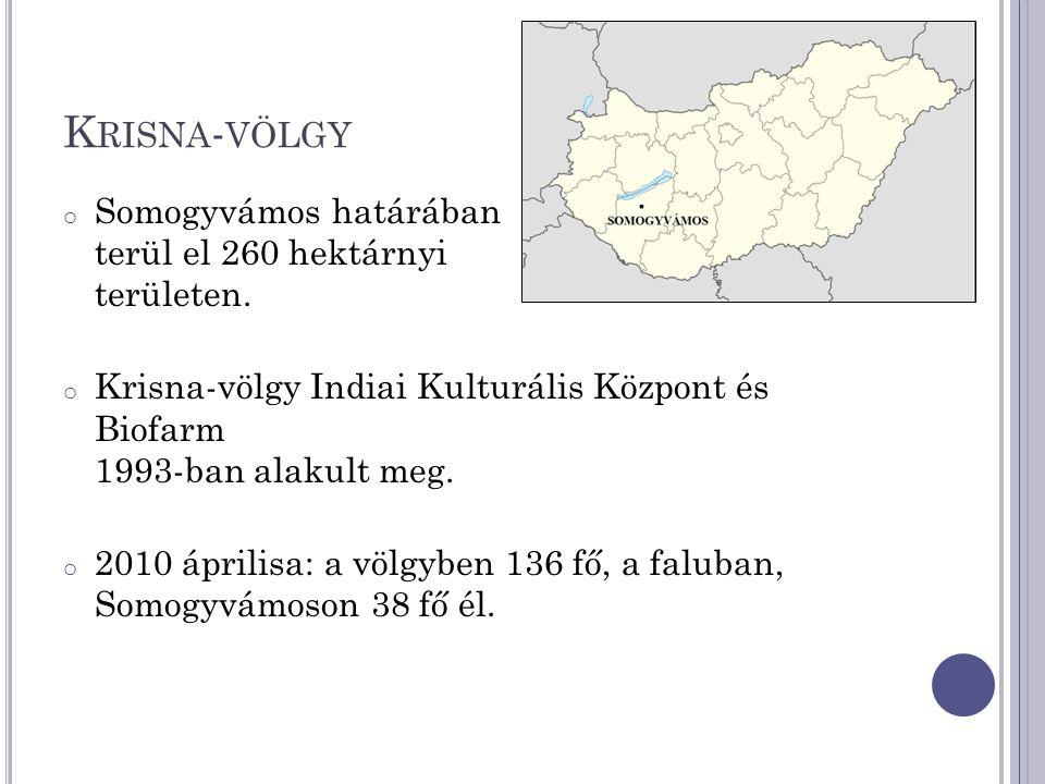 Krisna-völgy Somogyvámos határában terül el 260 hektárnyi területen.